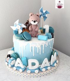 : Kommentare: 1 - Cakemesweet (cakemesweet_nay) auf quot; Toddler Birthday Cakes, Baby First Birthday Cake, Birthday Cakes For Teens, Cake 1 Year Boy, Torta Baby Shower, Bolo Cake, Baby Boy Cakes, Birthday Cake Decorating, Instagram Party