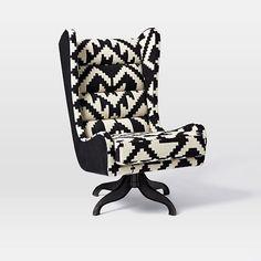 Cobb Swivel Wing Chair - Chevron #westelm