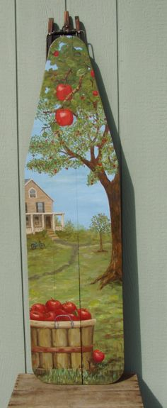 Apple Tree / Basket Painting on Ironing Board.