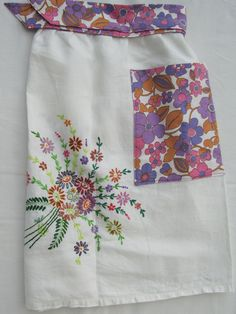 Apron made from recycled embroidered linen tablecloth & vintage sheet.