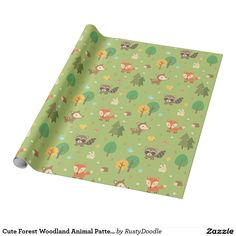 Cute Forest Woodland Animal Pattern For Kids Wrapping Paper