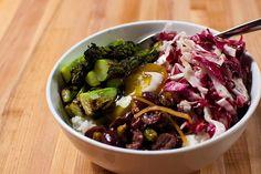 Replicate? Asparagus, pistachio olive chutney, radicchio rice bowl with egg yolk at Revel
