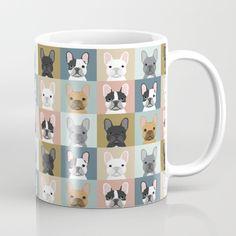 French Bulldog portraits pattern dog person gift love animal pet puppy frenchie bulldog valentines Mug