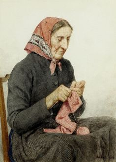 """""""Sitzende Bäuerin beim Stricken"""" (Seated Farmeri's Wife Knitting, Albert Anker, 1904"""