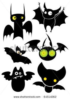 Nice Cartoon Halloween Black Cat | Set of cartoon Halloween black bats. Vector illustration. - stock ...