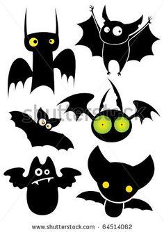 Nice Cartoon Halloween Black Cat | Set of cartoon Halloween black bats. Vector illustration. - stock ...
