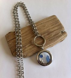 Sea Glass Floating Charm Necklace With Sea Horse  by TulaTinkers, $30.00