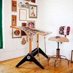 wood drafting table Home Office Eclectic with brick wall desk chair DIY drafting table frames gallery wall green trim Antique Drafting Table, Wood Drafting Table, Drafting Desk, Art Studio Design, Gallery Wall Frames, Bohemian Bedroom Decor, Bohemian Office, Wall Desk, Table Frame