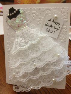 wedding dress card More Wedding Anniversary Cards, Wedding Cards, Wedding Invitations, Invitations Online, Wedding Programs, Cute Cards, Diy Cards, Bridal Shower Cards, Dress Card