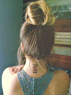 back of the neck tattoo! Immediate family's birth years in roman numerals
