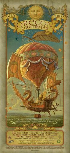 Steam Punk Couture Illustration poster for Oregon Country Fair 2010 by Corey and Catska Ench Steampunk Kunst, Steampunk Airship, Dieselpunk, Steampunk Diy, Steampunk Necklace, Steampunk Fashion, Posters Vintage, Retro Poster, Oregon Country Fair
