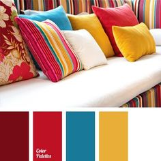 White sofa with pillows of saturated colors. The palette consists of bright, original colors: bordeaux, burgundy, gold. Burgundy Colour Palette, Colour Pallette, Colour Schemes, Red Color Combinations, Room Colors, House Colors, Color Balance, Design Seeds, Saturated Color