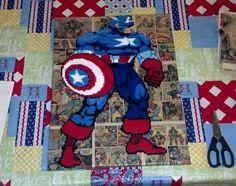 Captain America Perler Bead