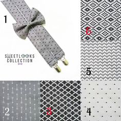 Gray Grey Black and White Wedding Theme Suspenders and Bow Tie  Check out this item in my Etsy shop https://www.etsy.com/listing/494824558/gray-suspenders-black-and-white