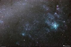 """""""Magellan's Pet Tarantula"""" by Will Vrbasso.An HDR image of a portion of the Large Magellanic Clouds, a satellite galaxy of our Milkyway, shot through my telescope last weekend. The big cyan nebula slightly to the right of center is the Tarantula nebula."""