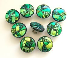 Green Shades Mosaic Fused Glass Knobs by Uneek Glass Fusions