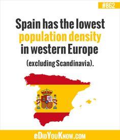 eDidYouKnow.com ►  Spain has the lowest population density in western Europe (excluding Scandinavia).