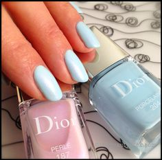 Dior Porcelaine 204 + Dior Frosted Effect Nail Polish in Perlé 187_Spring 2014 Trianon Edition
