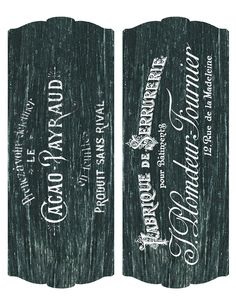 Printable ~ 2 large chalkboard labels with French typography