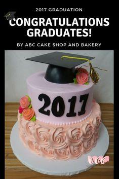 Pink and peach rosettes floral UNM APS RRHS #graduation cake with cap #ABCCakeShop
