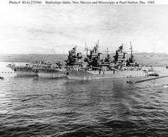 All three battleships of the New Mexico-class USS Idaho USS New Mexico and USS Mississippi moored abreast at Pearl Harbor Territory of Hawaii 17 December Naval History, Military History, Navy Coast Guard, Us Battleships, Capital Ship, Us Navy Ships, United States Navy, Pearl Harbor, Aircraft Carrier