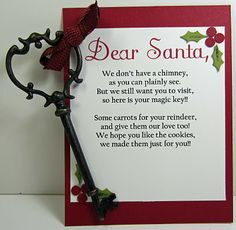 To do create santas magic keyte poem and key to let santa in i have all three stamp club christmas parties this week here are the highlights of wednesday night we had a card swap and a dear santa poem spiritdancerdesigns Choice Image