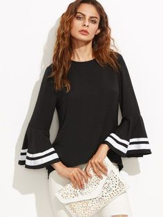 Shop Striped Trim Bell Sleeve Keyhole Back Blouse online. SheIn offers Striped Trim Bell Sleeve Keyhole Back Blouse & more to fit your fashionable needs. Collars For Women, Blouses For Women, Bell Sleeve Dress, Bell Sleeves, Woman Outfits, Striped Fabrics, Casual Tops, Casual Shirts, Stripes