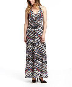 Look what I found on #zulily! Gray & Red Chevron Halter Maxi dress #zulilyfinds