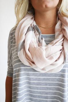 Striped shirt with subtle print neutral scarf