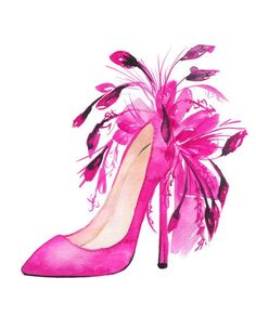 Pink shoes Christian Louboutin Fashion Illustration by KomaArt
