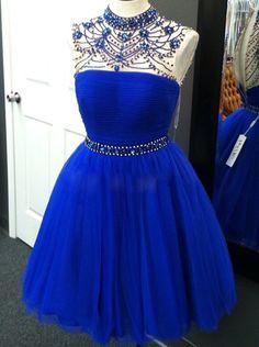Stunning High Neck Illusion Back Short Royal Blue Homecoming Dress with Beading Crystal