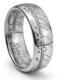 LOTR Laser Engraved Tungsten Wedding Bands Set, Domed Tungsten ...