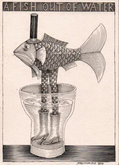 'A Fish Out of Water', a drawing by JVL for a charity postcard sale on May 2014 for the Friends of The Williamson Gallery in Birkenhead. Music Drawings, Fish Drawings, Ink Illustrations, Graphic Illustration, Image Of Fish, Fish Graphic, Weird Fish, Fish Tales, Unique Animals