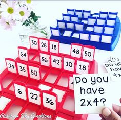 What a fun way to play and learn math facts! Use the game Guess Who? to teach addition, subtraction, multiplication and division! Easy to set up at home or in a math center. Math Classroom, Classroom Activities, Future Classroom, Maths Games Ks1, Good Math Games, Multiplication Games For Kids, Year 3 Classroom Ideas, Division Math Games, Fluency Activities