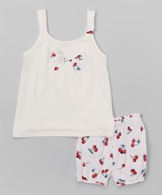 Another great find on #zulily! White Bow Tank & Cherry Shorts - Toddler by Paulinie #zulilyfinds
