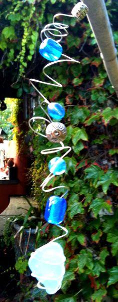 Blue sea glass and bead sun catcher