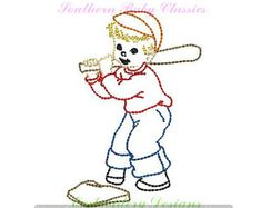 Baseball Player Boy Vintage Quick Stitch Design File for Embroidery Machine Instant Download Hand Stitched Look Heirloom