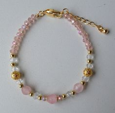 pink chinese crystal and jade bracelet pulseira de cristal chines rosa e jade