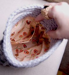 lined crochet purse