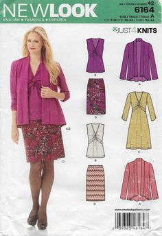 New Look 6164 Misses Open Front Cardigan Front Knot Dress and