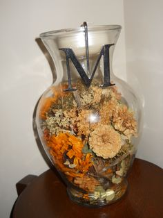 Dried wedding bouquet keepsake made into a candle holder
