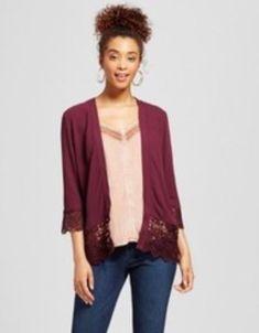 718650e9bdcbe4 Xhilaration Women s Lace Trim Cardigan Kimono Plum Size Large  Xhilaration   Cardigan Plum Purple