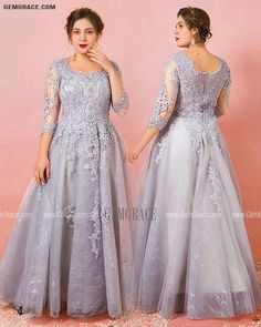 10% off now Custom Grey Modest Round Neck Lace Formal Dress with Tulle Sleeves Plus Size High Quality at GemGrace. Click to learn our pro custom-made service for wedding dress, formal dress. View Plus Size Prom Dresses for more ideas. Stable shipping world-wide. Formal Prom, Dress Formal, Mother Of The Bride Looks, Wedding Store, Plus Size Prom Dresses, Affordable Dresses, Custom Dresses, Dresses Online, Fashion Dresses