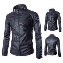 Men's casual short paragraph Slim washed motorcycle jacket collar leather