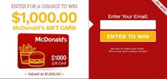 Enter for a chance to win a $1000 McDonalds giftcard! Mcdonalds Gift Card, Free Sweepstakes, 1000 Gifts, Win Free Gifts, Cards, Maps, Playing Cards