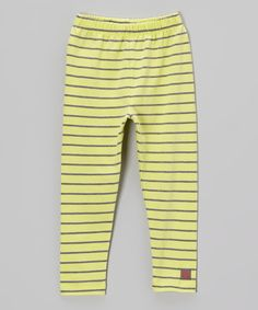 Another great find on #zulily! Citrus & Charcoal Stripe Leggings - Toddler & Girls by KidCuteTure #zulilyfinds