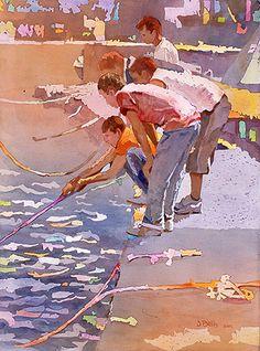 Artist Judi Betts paints children in watercolor.
