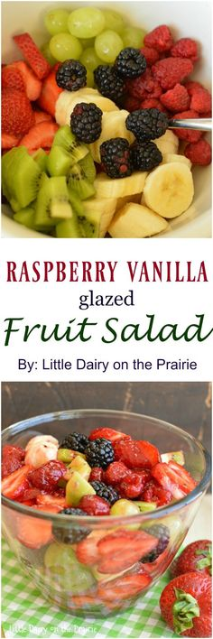 Raspberry Vanilla Fruit Salad is the perfect summer salad! Colorful fruits make this salad so pretty and a raspberry honey dressing gives it an extra special sweet flavor!