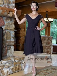 V Neck Tea Length Chiffon Mother of the Bride Dress with Pleating and Beading