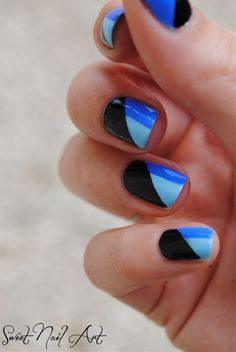 You can see the Geometric Nail Art designs this season is quite flexible, you can draw any pattern you like, or coordinate the color according to your Get Nails, Love Nails, Hair And Nails, Prom Nails, Black And Blue Nails, Black Nail, Black Polish, Matte Black, Geometric Nail Art